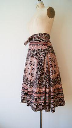 Vintage Wrap Skirt. 1970s Boho Hippie Maxi Skirt. Indian Batik Print High Waist Skirt. Gypsy Skirt / Festival Skirt. Small / Medium / Large....