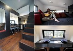 Andrew and Gabriella Morrison designed and built hOMe, a 221-square foot tiny off grid house mounted on a flat-deck trailer in Ashland, Oregon for $33K