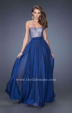 Cheap Long Marine Blue Sweetheart Prom Dresses by La Femme Style 20041