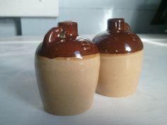 Vintage Brown and Tan Jug Shaped Salt and by RhymeswithDaughter, $10.00