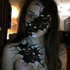 """L Gore SFX on Instagram: """"Inner Demons I got this idea from an amazing face paint originally created by @elinalehtikangas, I expanded it onto the chest into a body paint :) #innerdemons #illusion #demon #eyes #monster"""""""