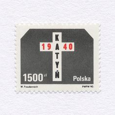 — Katyn Massacre 50th Anniversary (1500zł). Poland, 1990. Design: W. Freudenreich. #mnh #graphilately