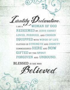 Beth Moore Living Proof Simulcast on 9/13/14 ... Identity Declaration for Women