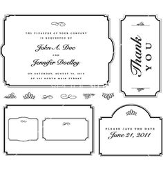 Classic antique style frames for wedding invites - vector graphic