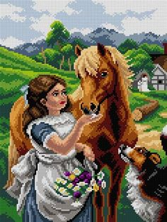 Color scheme for embroidery Alfred William Strutt. Sweets amateur printed on pa . 123 Cross Stitch, Cross Stitch Horse, Cross Stitch Animals, Cross Stitch Charts, Cross Stitch Designs, Cross Stitch Patterns, Disney Crochet Patterns, Horse Pattern, Paper Crafts Origami