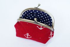 Coin purse  Red and white nautical anchor fabric by cheekyleopard
