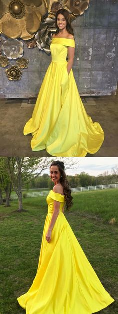 2018 off the shoulder yellow long prom dress with pockets, party dress