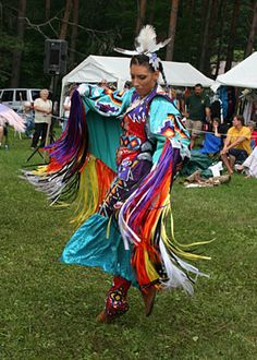 Fancy Shawl Dancers. One of the newer dance styles in the last 50 years. These dancers have to be skilled in not only emulating the butterfly but in their footwork. The flashes of color from their fringe will surely catch your eye as well as how these women manage grace in a very strenuous performance.