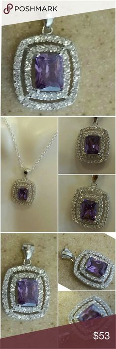 """Genuine Amethyst And White Sapphire Pendant  .75"""" Such a dainty, classy and elegant pendant.  Set in 925 stamped Solid Sterling Silver. Please see all pictures for details. Brand New. Never Worn. Wholesale Prices. MSRP  540.00 Jewelry Necklaces"""