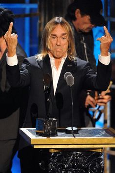 """Iggy """"The Fuckin' Man"""" Pop by Jeff Kravitz Annual Rock and Roll Hall of Fame Real Wild Child, Iggy Pop, Lust For Life, Celebs, Celebrities, The Only Way, Flipping, Rock And Roll, Going Out"""