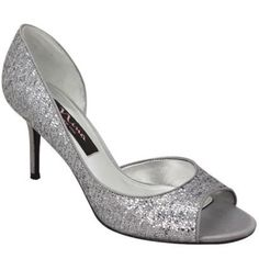 Nina Fern Silver Glitter Heels Open-toe D'Orsay pumps Glitter mesh upper Leather sole Shoe Width: M Heel Height: 3.     Never worn....NWOT. Great shoes for your next event! Nina Shoes Heels
