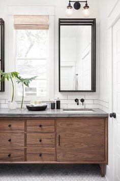 BECKI OWENS- Design Trend: Tropical Chic Silver Bathroom, Bathroom Bin, Brown Bathroom, Bathroom Vanities, Mid Century Bathroom Vanity, Large Tile Bathroom, Washroom, Master Bathroom, Bathroom Table