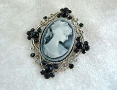 Black & White Cameo Brooch  Silver tone Frame by thejewelseeker, $32.00