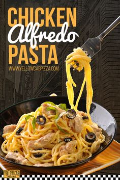 Get this now at www.yellowcabpizza.com :) Pizza Holiday, My Favorite Food, Favorite Recipes, Pizza Special, Creamy Pasta, Chicken Alfredo, Pizza Party, Food Trends, Grubs