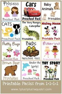 "wonderful free Printables Packs from 1plus1plus1equals1.  love her take on ""tot school"" .. just fun and play is learning. not structured.  best collection of ideas and she makes GREAT printables. Tots, preschhol, and pre-k collections."