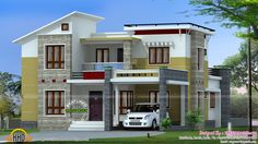 2200 square feet, 4 bedroom slanting roof style house design by Green Architects, Kozhikode, Kerala.