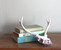 Painted Deer Skull Antlers Soft Pink di CaprockVintage su Etsy, $28.00