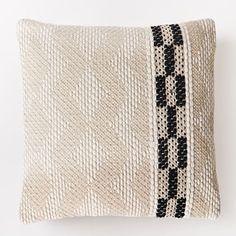 Diamond Color Stripe Pillow Cover - Black   west elm