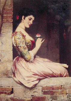 Love the color and texture... The Rose by Eugene de Blaas. #classic #art #painting
