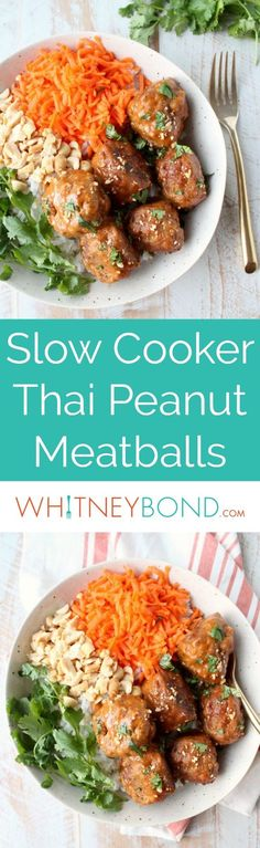 Turkey meatballs are slow cooked in Thai peanut sauce, then served over rice & topped with fresh cilantro, carrots & peanuts in this tasty rice bowl recipe!