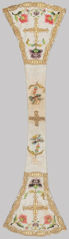 Set of liturgical vestments (cope, chasuble, burse, maniple, chalice veil, cope hood) about 1760 Maniple: Off-white silk and silver metallic narrow maniple with gold embroidered crosses and pink and purple flowers trimmed and bordered with gold embroidery.