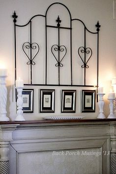 Master Bedroom Mantel for Summer 2013 I love this rod iron piece.an old crib frame? Wrought Iron Bed Frames, Old Bed Frames, Wrought Iron Decor, Antique Iron Beds, Antique Crib, Rod Iron Decor, Bed Frame Bench, Old Chairs, Folding Chairs
