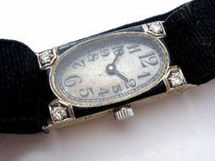 Art Deco 18K White Gold Ribbon Watch with Diamonds D & L Co Black Wristwatch  This is an antique 18k gold white gold watch on a ribbon band.Jewelry & Watches, Vintage & Antique Jewelry, Fine