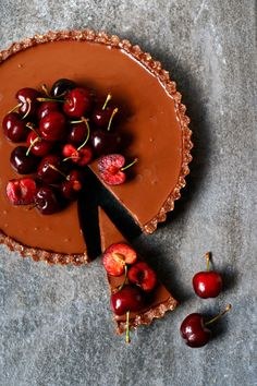 Cherry Chocolate Tart (grain-free & vegan) - Nirvana Cakery