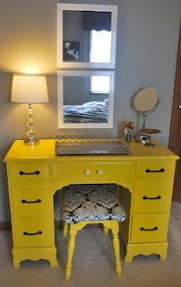 Blog provides details for the design of this child desk turned into a functional vanity!