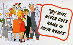 Vintage Toronto Transit etiquette posters - those pesky, inconsiderate housewives with their lady shopping and children, taking up space during rush hour!