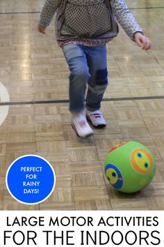 Fun large motor ideas for preschoolers that can be done inside during rainy days!