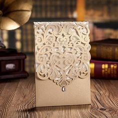 Gold Hollow Folded Wedding Invitations Cards 2015 Hot Selling Laser Cutting Wholesale Personalized Printable Invitation Card Online with $10.48/Piece on Marrysa's Store | DHgate.com