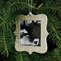 Glitter frame ornament at West Elm. I'm going to make some of these.