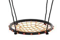 """SWINGING MONKEY PRODUCTS 24"""" Spider Web Playground Swing, Orange - FUN! Easy Install for Swing Set or Tree"""