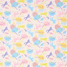 Tissu Oxford Kokka blanc, nuages, licornes, planètes, étoiles multicolores