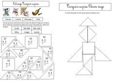 coloriage tangram magique sur la multiplication posée