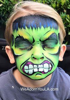Hulk face paint Hulk Face Painting, Superhero Face Painting, Face Painting For Boys, Face Painting Designs, Face Paintings, Hulk Party, Cheek Art, Kids Makeup, Fundraising Events