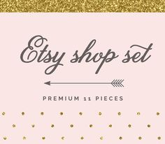 Etsy Shop Set -  Etsy Branding Etsy Avatar Etsy Package Business Card Facebook timeline cover - Chic Glitter
