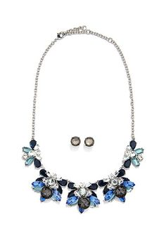 Faux Stone Necklace and Earring Set | Forever 21 - 1000157175