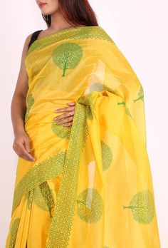 Yellow Hand block printed chanderi saree Dimension: 5.5 meters Color: Yellow & green Material: Chanderi Finish: Hand-crafted Inspiration: Hand Block Printing Blouses shown in the picture is only for the shoot and doesn't come along with the saree Blouse Fabrics doesn't come along with saree