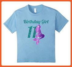 Kids 11th Birthday Girl Of Mermaid T-shirt 11 Years Old Mermaid 6 Baby Blue - Birthday shirts (*Partner-Link)