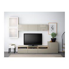 BESTÅ Úložné TV riešenie/sklené dvierka - bielo morený dubový vzor /Selsviken vysoký lesk/béžov matné sklo, jazdec zásuvky, stláčací otv mech - IKEA
