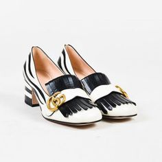 e82a9c180e0 Gucci Flats Gucci Nib White  amp  Black Leather Fringed  gg  Zebra Stripe  Loafers