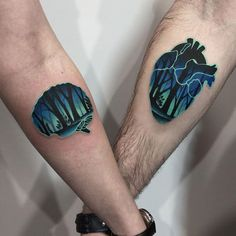 Heart & Brain Couples Tattoos