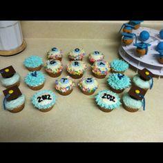 UNC Graduation cupcakes! Graduation Cupcakes, Basket Ideas, Tis The Season, How To Make Cake, Amazing Cakes, Gift Baskets, Party Ideas, Baking, Desserts