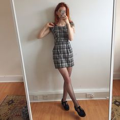 a78ec509e578 Super flattering wool brown and white checkered vintage mini - Depop Tumblr  Outfits, Grunge Outfits