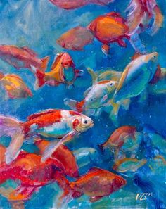 """Daily Paintworks - """"Just Keep On Swimming, Swimming, Painting..."""" - Original Fine Art for Sale - © Dimitriy Gritsenko"""