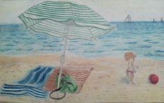 Na pláži,A4- progreso Beach Mat, Outdoor Blanket, Painting, Art, Painting Art, Paintings, Kunst, Paint, Draw