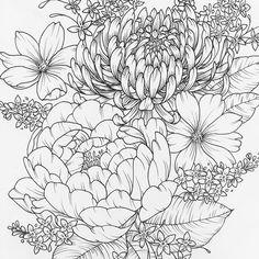 Petals and more petals #flower #blooms #linework #sketch #sketchbook #art #peony #pen #mum #lilac #etsy #tattoo #drawing