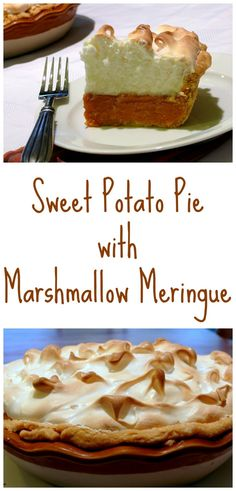 Sweet Potato Pie with Marshmallow Meringue, it's so perfect for Thanksgiving dessert.